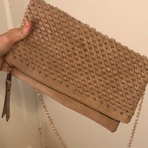 Cross body purse with gold chain